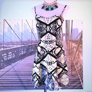 MATERIAL GIRL short skater dress, bold print, sz S
